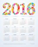 Kreatywnie kolorowi 2016 kalendarzowy projekt Zdjęcie Stock