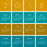 2018 Kreatywnie Kolorowy kalendarz Obraz Stock
