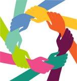 Kreatywnie Kolorowy pierścionek ręki praca zespołowa Zdjęcia Stock
