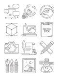 Kreatywnie kreskowe ikony Proces artyści oznakuje blogging graficznych symbole wektorowe sztuki odizolowywać royalty ilustracja