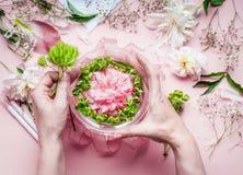 Kreatywnie kwiaciarni workspace Kobieta wręcza robić dosyć kwiecistemu dekoraci przygotowania z różowymi różami i zielona roślina Obraz Stock