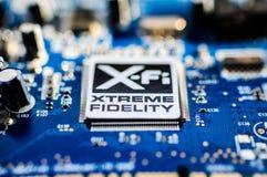 Kreatywnie Labs niszczyciela Rozsądna deska Z XFI logem Obraz Royalty Free