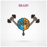 Kreatywnie lewy i prawy mózg znak z barbell na backgroun Obraz Royalty Free