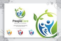 Kreatywnie liścia logo wektorowego projekta z nowożytnym tłumu pojęciem ludzie, symboli/lów ilustracyjni ludzie z liściem dla rod ilustracji