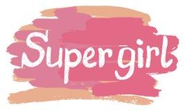 Kreatywnie literowanie z girly zwrota Super dziewczyną Obrazy Stock