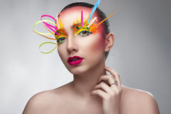 Kreatywnie makeup z kolorowym papierem Fotografia Royalty Free