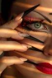 Kreatywnie moda manicure i makeup zdjęcie stock