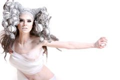 kreatywnie mody dziewczyny włosy makeup Zdjęcia Stock