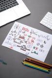Kreatywnie nakreślenie w ślimakowatym notepad z laptopem na biurku Biznes Zdjęcia Stock