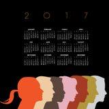 Kreatywnie nowy 2017 różnorodność kalendarz ilustracja wektor