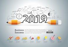 Kreatywnie ołówkowy projekt na rysunku sporządza mapę wykresu nowego roku 2019 ilustracji