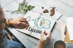 Kreatywnie osoby żarówki grafiki pojęcie Zdjęcie Stock