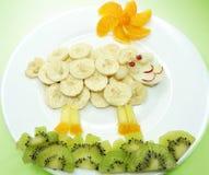 Kreatywnie owocowego dziecka statku deserowa forma Zdjęcia Stock