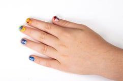 Kreatywnie paznokcia obraz z gwoździa połyskiem Zdjęcia Stock