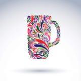Kreatywnie piwny kubek dekorował z wektorowym kwiecistym wzorem alkohol Obraz Stock