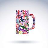 Kreatywnie piwny kubek dekorował z wektorowym kwiecistym wzorem alkohol Zdjęcia Stock