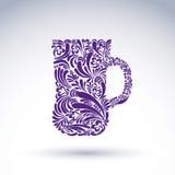 Kreatywnie piwny kubek dekorujący z kwiecistym wzorem Obrazy Royalty Free