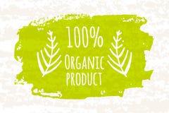 Kreatywnie plakatowa kolorowa zieleń 100 procentów organicznie foods dla zdrowie odizolowywających na białym tle z starym pape ca Obraz Stock
