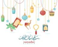 Kreatywnie plakatowy projekt dla świętego miesiąca muzułmański społeczność festiwal Ramadan Kareem Arabskie dekoracje ilustracji