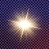 Kreatywnie pojęcia Wektorowy ustawiający jarzeniowi lekkiego skutka gwiazd wybuchy z błyska odosobnionego Zdjęcie Royalty Free