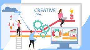 kreatywnie pomysł Grupa młodzi ludzie biznesu kolaboruje, rozwiązujący problem, myśleć o kreatywnie pomysle kreatywnie ilustracji