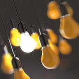 Kreatywnie pomysłu i przywódctwo pojęcia żarówka ilustracja wektor