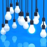 Kreatywnie pomysłu i przywódctwo pojęcia żarówka na błękicie ilustracja wektor