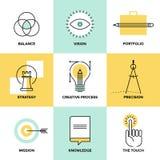 Kreatywnie proces projekta mieszkania linii ikony Zdjęcia Royalty Free