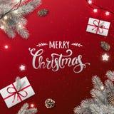 Kreatywnie rama robić śnieżna Bożenarodzeniowa jodła rozgałęzia się Srebny Wesoło bożych narodzeń tekst na czerwonym tle ilustracji