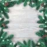 Kreatywnie rama robić Bożenarodzeniowa jodła rozgałęzia się na białym drewnianym tle z światłami, sosna rożki ilustracja wektor