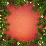 Kreatywnie rama robić Bożenarodzeniowa jodła rozgałęzia się na czerwonym tle z światłami, sosna rożki xmas karciany nowy rok ilustracja wektor