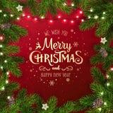 Kreatywnie rama robić Bożenarodzeniowe jedlinowe gałąź Złocisty Wesoło bożych narodzeń i nowego roku tekst na czerwonym tle royalty ilustracja