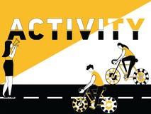Kreatywnie słowa pojęcia aktywność i ludzie robi wieloskładnikowym aktywność ilustracja wektor