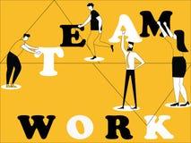 Kreatywnie słowa pojęcia praca zespołowa i ludzie robi rzeczom ilustracja wektor