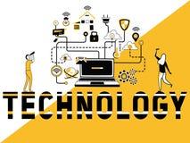 Kreatywnie słowa pojęcia technologia i ludzie robi rzeczom royalty ilustracja
