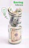 Kreatywnie savings pieniądze w słoju Zdjęcia Stock