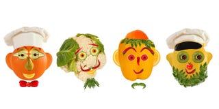 Kreatywnie set karmowy pojęcie Few śmieszni portrety od vegeta Fotografia Royalty Free