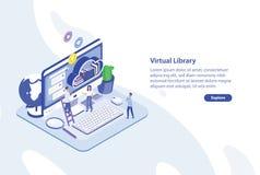 Kreatywnie sieć sztandaru szablon z malutkimi ludźmi stoi przed gigantycznym ekranem komputerowym i półką książki cnota ilustracji