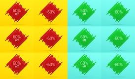 Kreatywnie sprzedaż sztandar z 60 Daleko licytant ilustracji