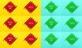 Kreatywnie sprzedaż sztandar z 45 Daleko licytant ilustracji