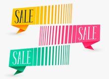 Kreatywnie sprzedaż sztandary w trzy kolorach ilustracja wektor
