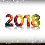 Kreatywnie szczęśliwa nowego roku 2018 projekta karta na nowożytnym tle Obrazy Royalty Free