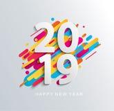 Kreatywnie szczęśliwy nowego roku 2019 sztandar Ilustracji