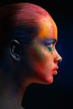 Kreatywnie sztuka uzupełniał, moda modela zbliżenia portret zdjęcia royalty free