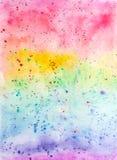 Kreatywnie tekstura dla projekta Wibrująca ręka malujący akwareli tło Handmade narzuta Dekoracyjny chaotyczny kolorowy textured p ilustracji