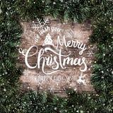 Kreatywnie układ rama robić Bożenarodzeniowa jodła rozgałęzia się z płatek śniegu na drewnianym tle wesoło Boże Narodzenie nowy r royalty ilustracja