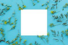 Kreatywnie układ robić dzicy kwiaty i liście z papierowej karty notatką Mieszkanie nieatutowy pojęcia odosobniony natury biel zdjęcie stock