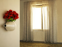 Kreatywnie waza z różami na ścianie ilustracji