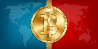 Kreatywnie wektorowa ilustracja 3d bitcoin złota moneta odizolowywająca na tle Sztuka projekta cyfrowa waluta, cryptocurrency zap Zdjęcia Royalty Free