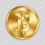 Kreatywnie wektorowa ilustracja 3d bitcoin złota moneta odizolowywająca na tle Sztuka projekta cyfrowa waluta, cryptocurrency zap Obrazy Stock